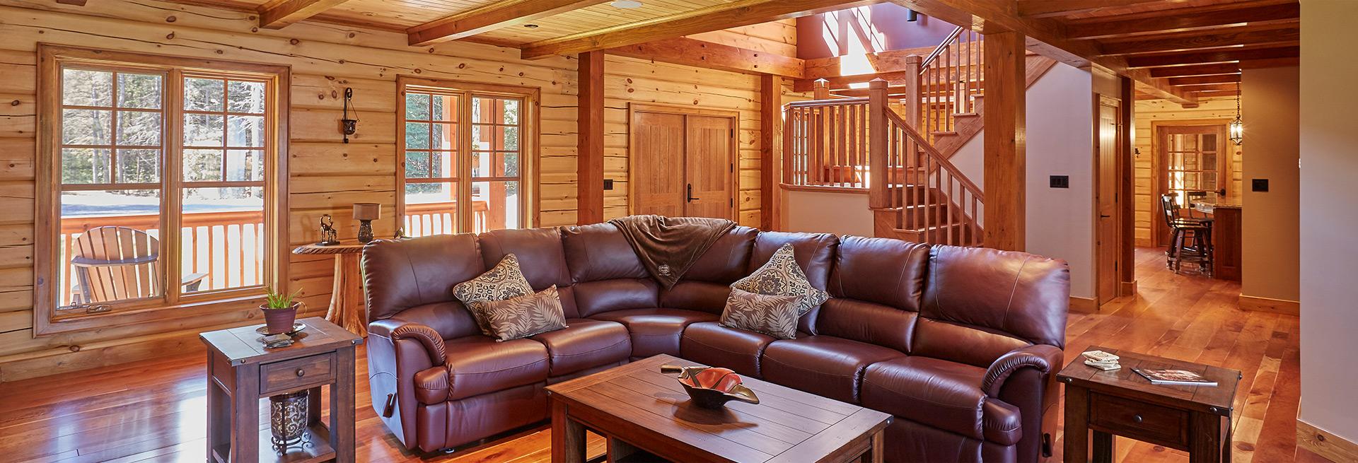 Log Home living room interior