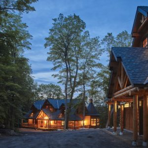 Citadel PPK At Night True North Log Homes Log Cabin Kit Log Home Kit