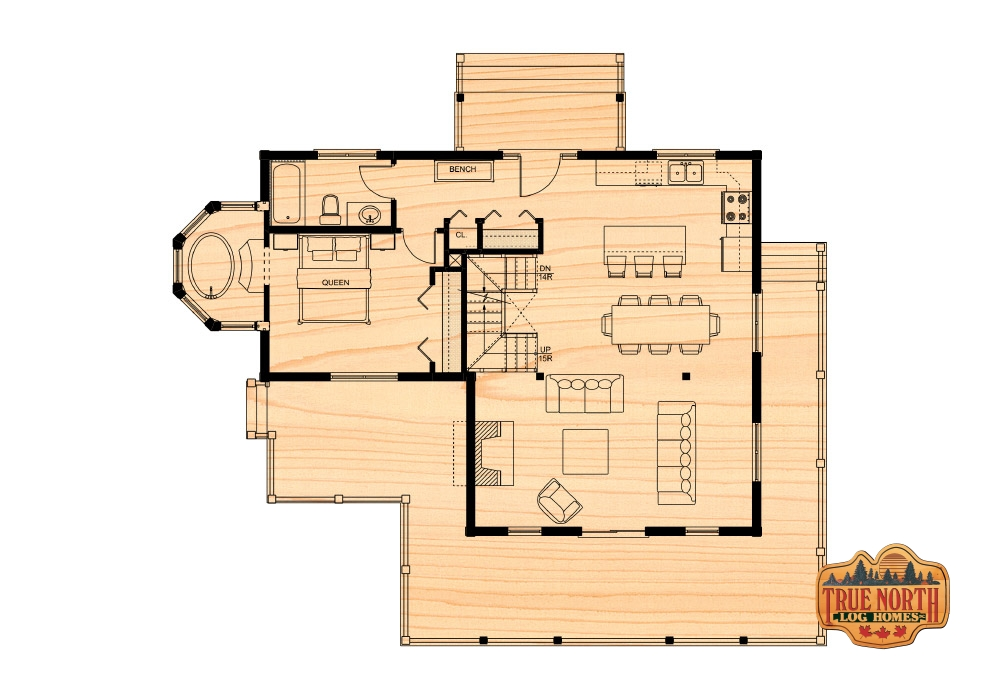The chateau qu 39 appelle i true north log homes for True homes floor plans