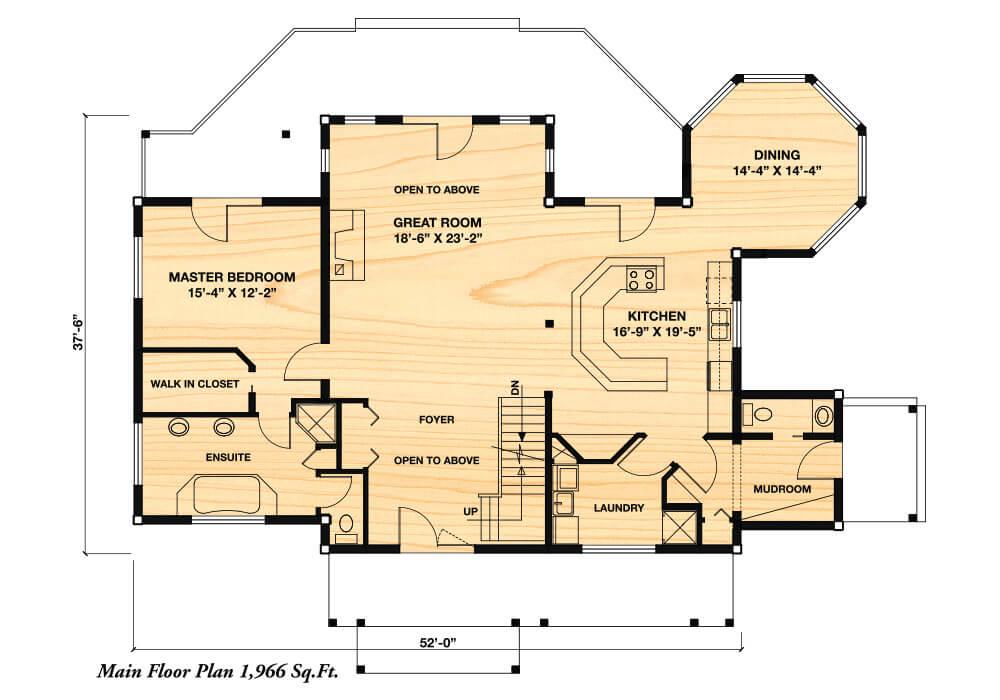 Citadel ii true north log homes for True homes floor plans