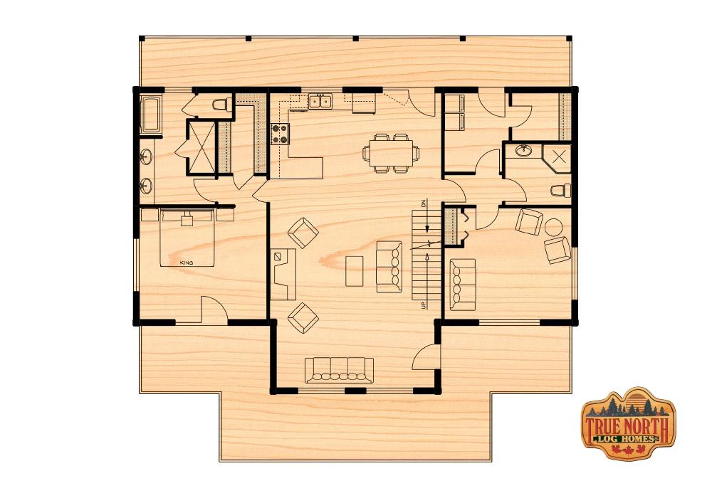 Klondike ii true north log homes for True homes floor plans