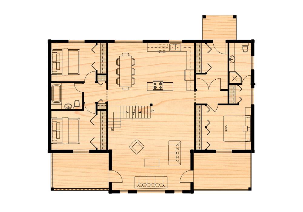 Klondike iii true north log homes for True homes floor plans
