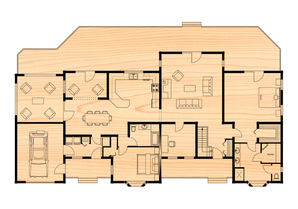 Lafontaine iii true north log homes for True homes floor plans