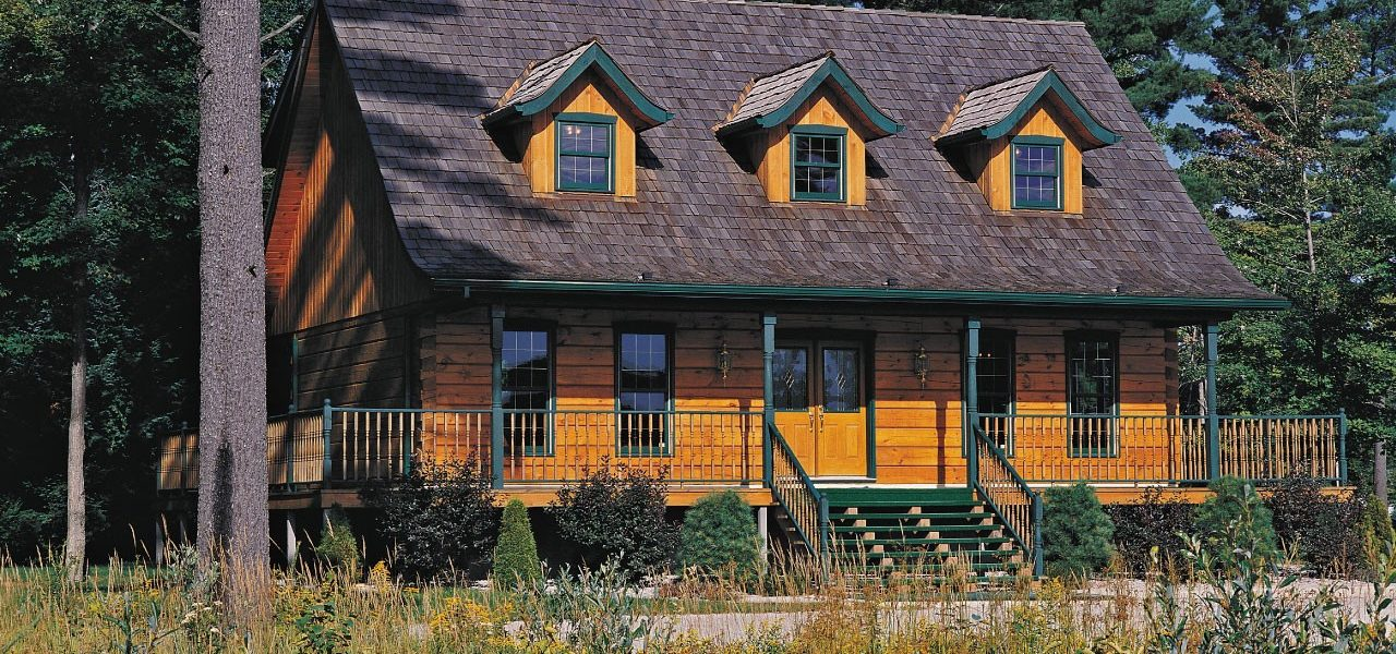 Front in summer - Louisburg I - True North Log Homes