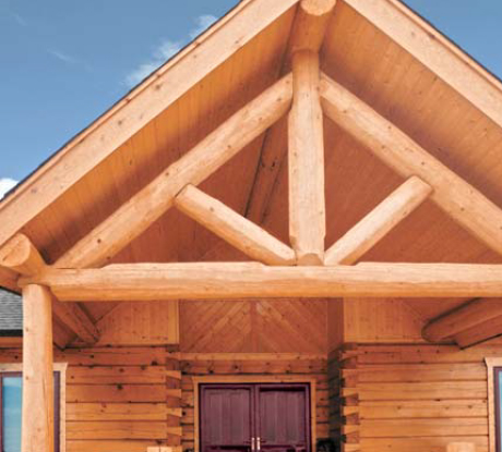 round log timber trusses